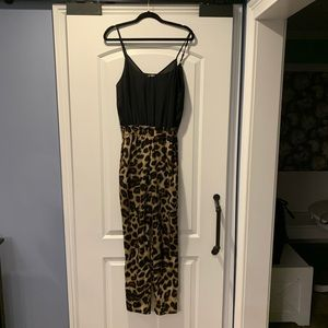 Black & Leopard Long Pant Romper
